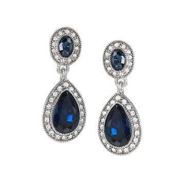 Carolee Boxed Silver Tone Blue Crystal Pave Stone Double Drop Earrings