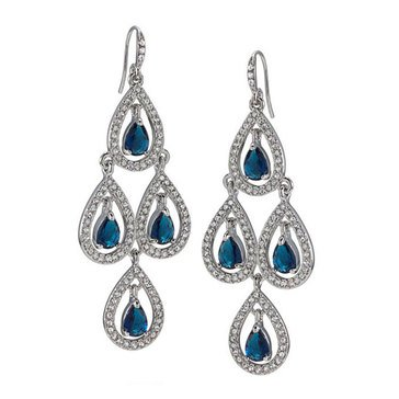 Carolee Boxed Silver Tone Blue Crystal Pave Pear Chandlier Earrings