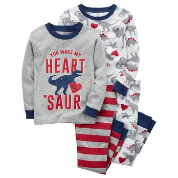 Carter's Baby Boys' 4-Piece Pajamas Set, Heart Dino