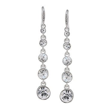 Carolee Boxed Silver Tone Graduated Linear Crystal Drop Earrings