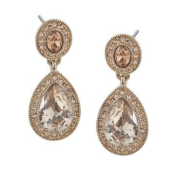 Carolee Boxed Gold Tone Crystal Pave Stone Double Drop Earrings