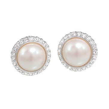 Carolee Boxed Silver Tone Freshwater Pearl & Crystal Halo Earrings