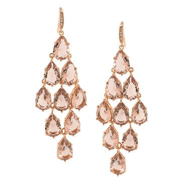 Carolee Boxed Rose Gold Tone Pink Kite Chandelier Earrings