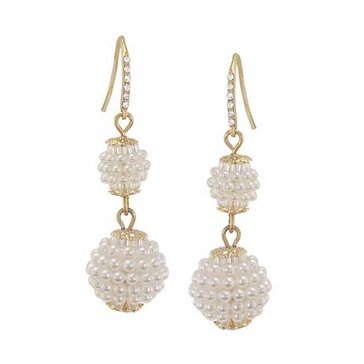 Carolee Boxed Gold Tone Freshwater Pearl Double Ball Drop Earrings