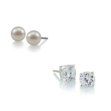Carolee Boxed Silver Tone Round CZ & 10mm Freshwater Pearl Stud Earrings Set