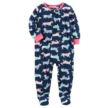 Carter's Toddler Girls' Fleece Dog Print Footed Pajamas