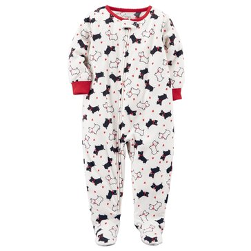 Carter's Little Girls' Fleece Scotty Dog Footed Pajamas