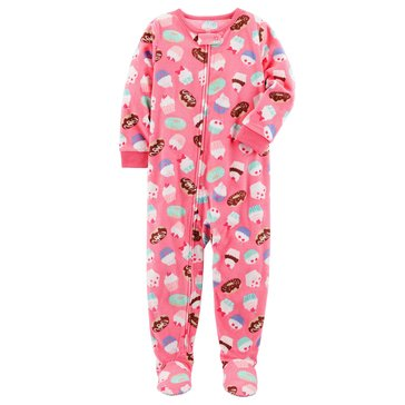 Carter's Little Girls' Fleece Cupcake Footed Pajamas