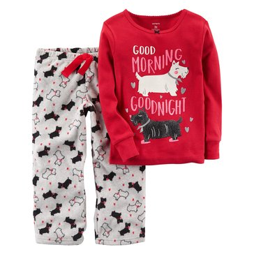 Carter's Little Girls' 2-Piece Knit To Fleece Scotty Pajamas
