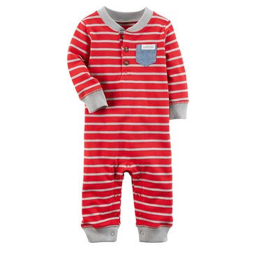 Carter's Baby Boys' Red Stripe Jumpsuit