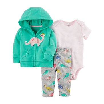 Carter's Baby Boys' 3-Piece Cardigan Set, Dino