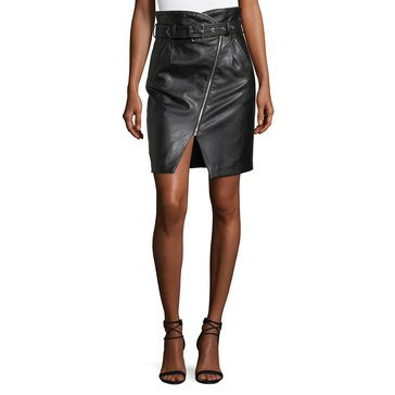 Romeo & Juliet Pleather Zipper Edge Belted Skirt in Black