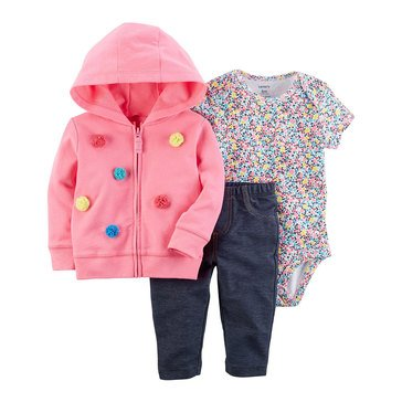 Carter's Baby Girls' 3-Piece Cardigan Set, Pom
