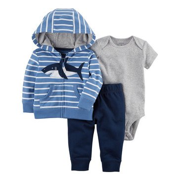 Carter's Baby Boys' 3-Piece Cardigan Set, Whale
