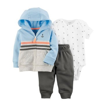 Carter's Baby Boys' 3-Piece Cardigan Set, Shark
