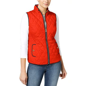Charter Club Quilted Vest with Contrast Piping in Poppy Glow
