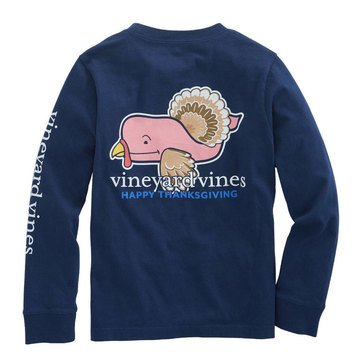 Vineyard Vines Long Sleeve Turkey Whale Pocket Tee