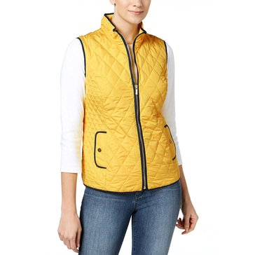 Charter Club Quilted Vest with Contrast Piping in Tuscan Gold