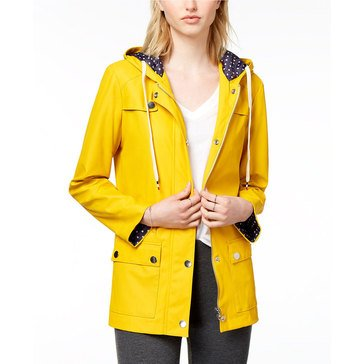 Maison Jules Rubberized Rain Jacket Dot Lining in Maize Gold