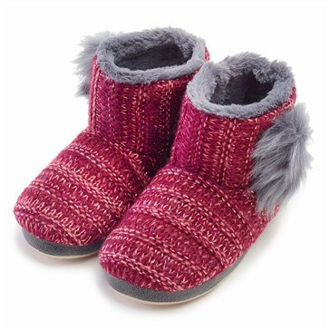 Kensie Shimmer Knit Booties Burgundy