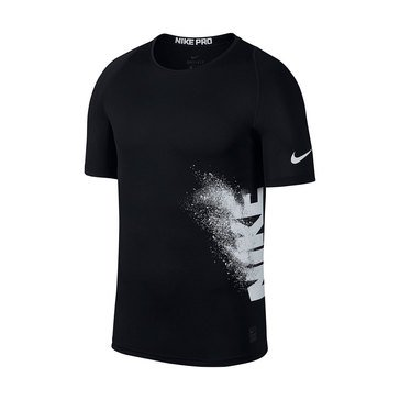 Nike Train Nike Pro Side Logo GFX Fitted Short Sleeve Top