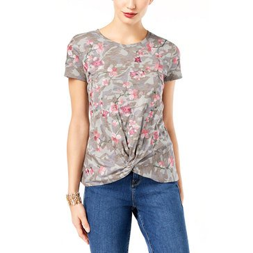 INC International Concepts Camo Floral Over Embroidery Tee in Olive Drab