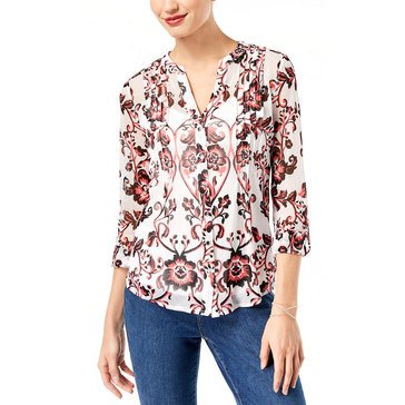 INC International Concepts Floral Pintuck Long Sleeve Print Top