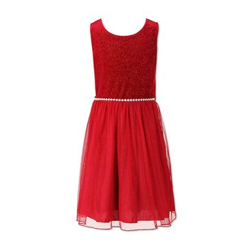 Speechless Big Girls' Holiday Velvet To Mesh Dress, Red
