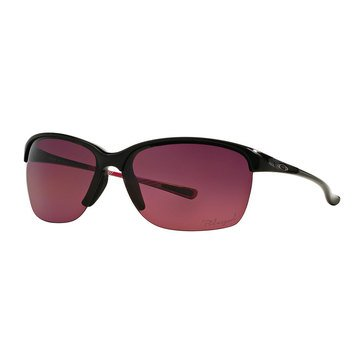Oakley Women's Unstoppable Polarized Sunglasses Polished Black/Rose Gradient 65mm