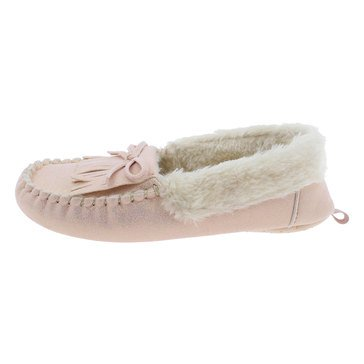 Capelli Girls Metallic Moccasin Slipper With Fringe and Bow Trim Pink