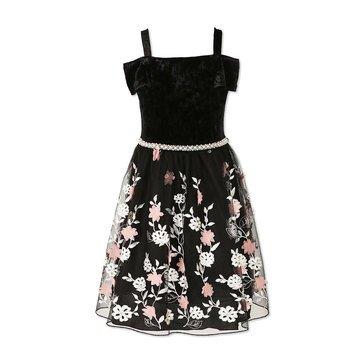 Speechless Big Girls' Holiday Velvet Off Shoulder Dress, Black/Blush