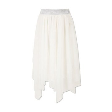Speechless Big Girls' Asym Hem Mesh Skirt, Ivory