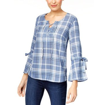 Style & Co Plaid Popover  Tie Up Sleeve Top in Blue Plaid