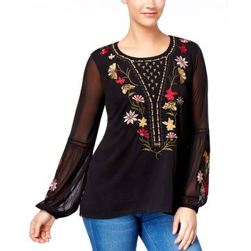 Style & Co Mess with Embroidery on Bodice and Bishop Sleeve Top in Deep Black