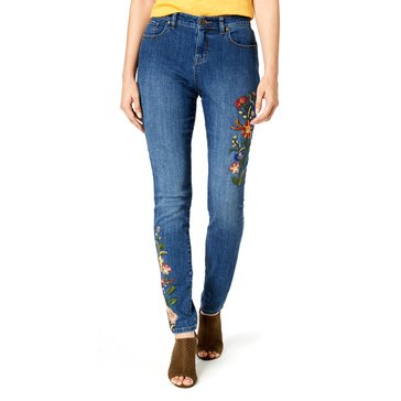Style & Co Multi Floral Stitch Denim in Sky Harvest