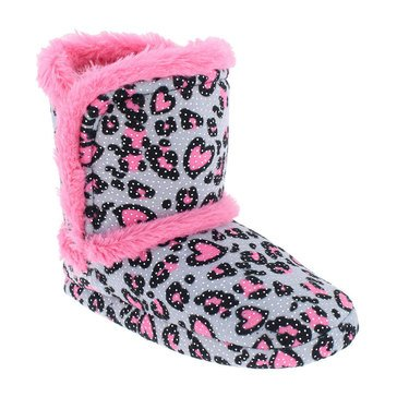 Capelli Girls Leopard Print Boa Boot Grey Combo