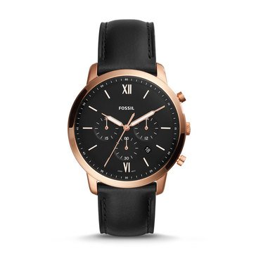 Fossil Men's Neutra Black Strap Chronograph Watch, 44mm