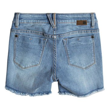 Roxy Big Girls' Bless My Destiny Denim Short, Light Blue