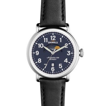 Shinola Unisex Runwell Black Leather Watch, 41mm