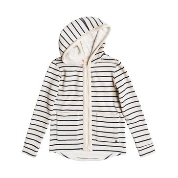Roxy Big Girls' Full Of Love Stripe Lightweight Zip Hoody, Grey