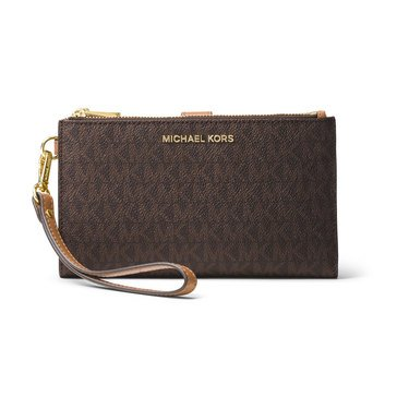 Michael Kors Double Zip Wristlet 7 Plus Brown