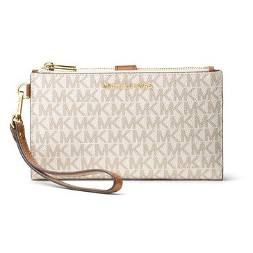 Michael Kors Double Zip Wristlet 7 Plus Vanilla