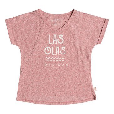 Roxy Big Girls' Say Just Yeah El Mar V neck Swing Tee, Dusty Cedar