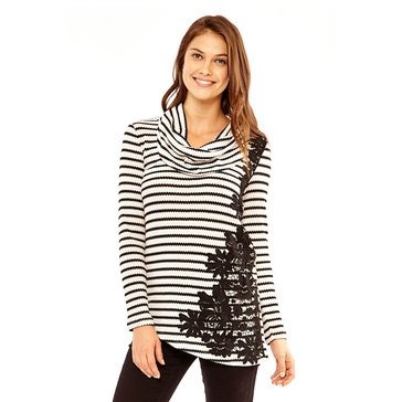 Skye's The Limit Women's Long Sleeve Rib Striped Top with Asymmetrical Lace Overlay