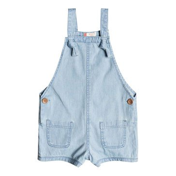 Roxy Little Girls' Eyes Flew Open Denim Romper, Light Blue