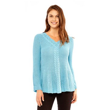 Skye's The Limit Women's Cable V-Neck Tubular Sweater