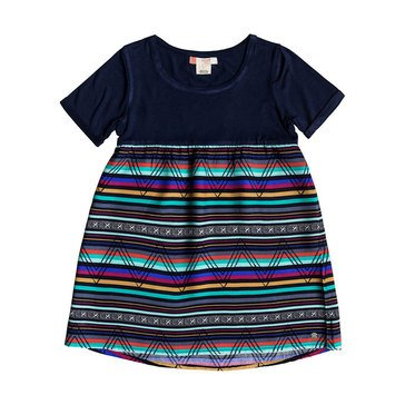 Roxy Little Girls' Branche Of Lilac Knit Woven Dress, Blue