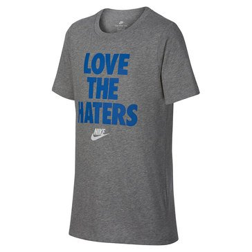 Nike Big Boys' Love The Haters Tee, Grey