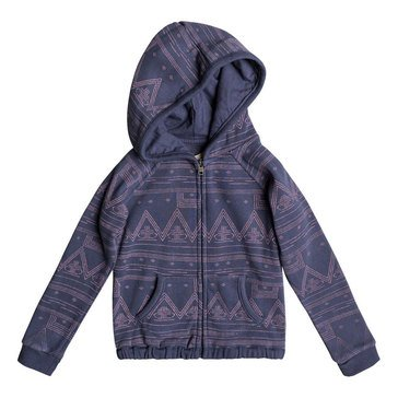 Roxy Little Girls' Make Me Swim Print Zip Hoodie, Aztec Geo