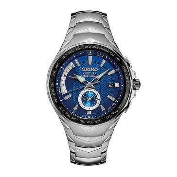 Seiko Men's Coutura Blue/Stainless Steel Radio Sync Solar Watch, 45mm